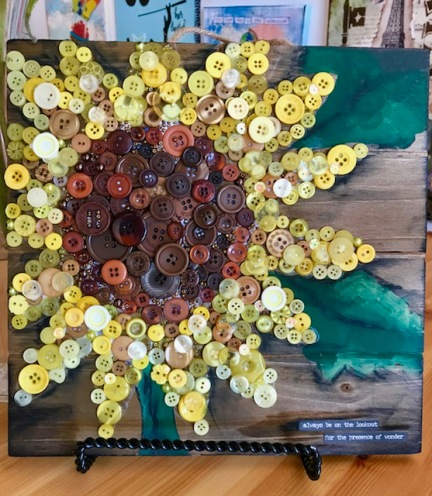 Sunflower Button on wood